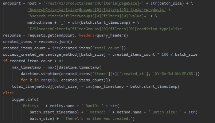 Image 4. Code fragment to get all created items from the batch