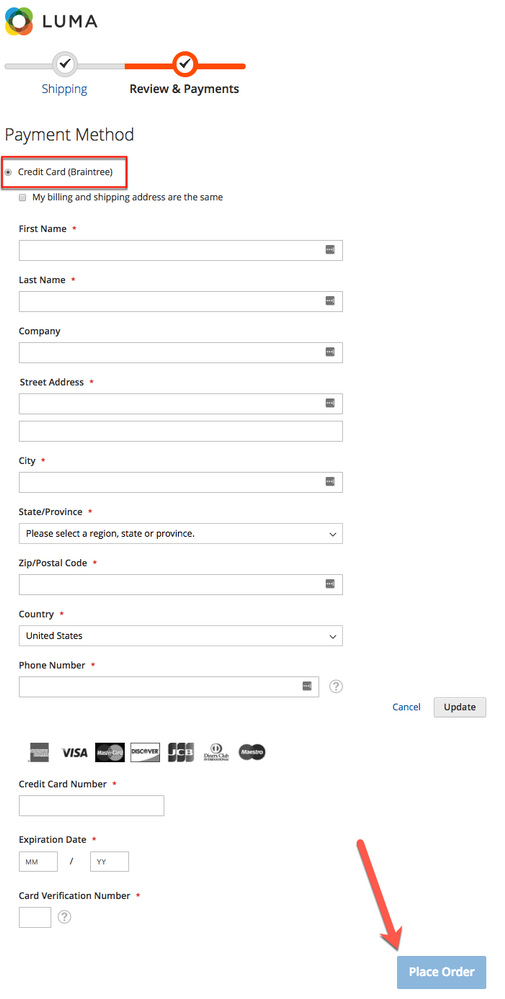 Place Order button is disabled