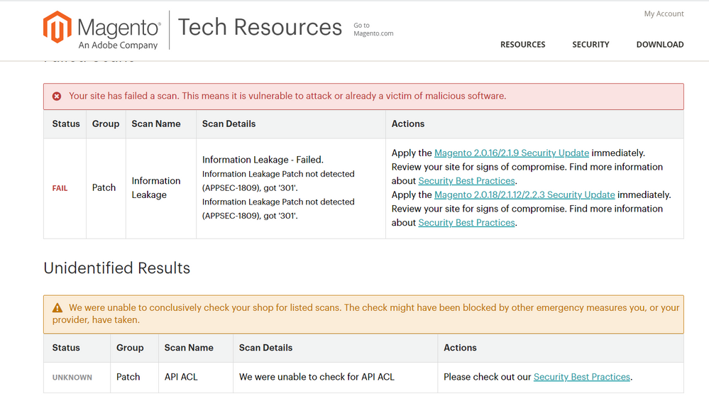 Information Leakage APPSEC-1809 Magento Scan Resul