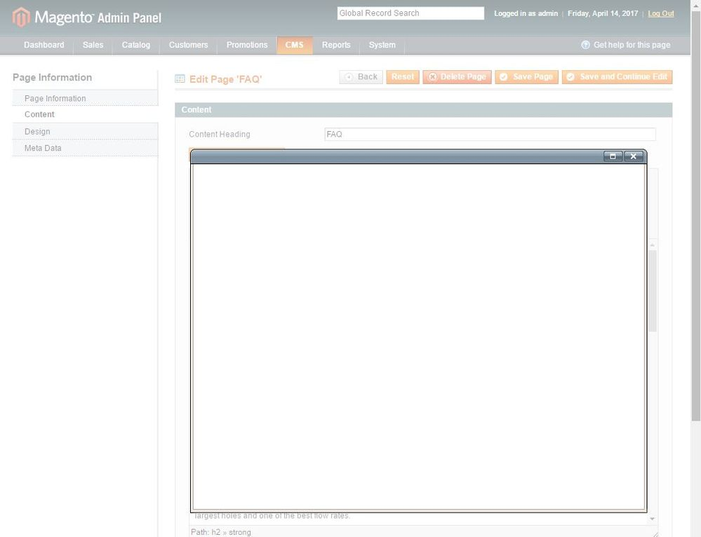 WYSIWYG editor HTML view not working (blank) popup - Magento