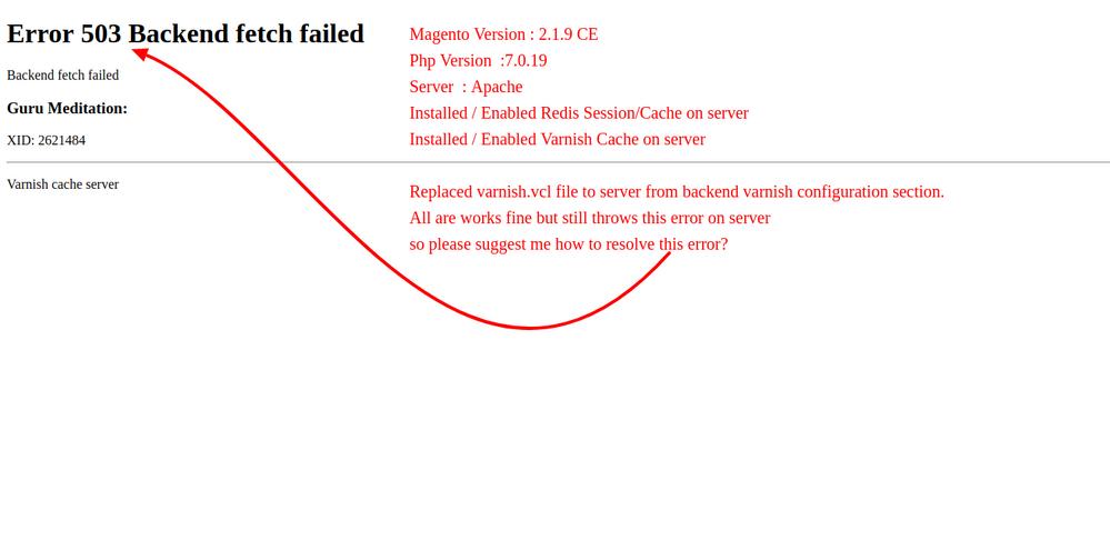 how to fix error 503 backend read error